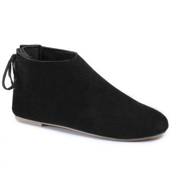 Ankle Flat Pointed Toe Boots - BLACK 35