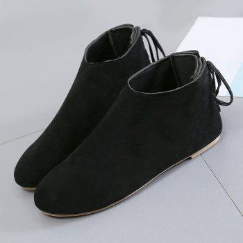 Ankle Flat Pointed Toe Boots - BLACK 36