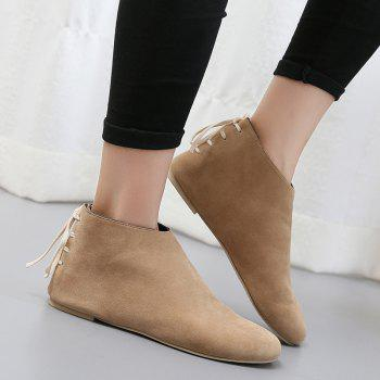Ankle Flat Pointed Toe Boots - APRICOT 40