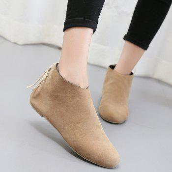 Ankle Flat Pointed Toe Boots - APRICOT 37