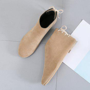 Ankle Flat Pointed Toe Boots - APRICOT 35