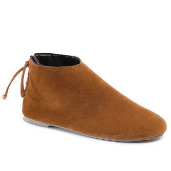 Ankle Flat Pointed Toe Boots - BROWN 37