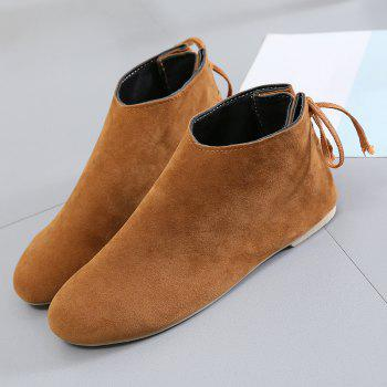 Ankle Flat Pointed Toe Boots - 37 37