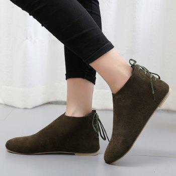 Ankle Flat Pointed Toe Boots - ARMY GREEN 39