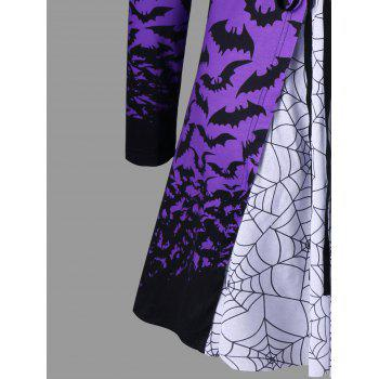 Halloween Spider Web Bat Lace Up Top - LIGHT PURPLE L