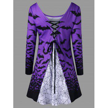 Halloween Spider Web Bat Lace Up Top - LIGHT PURPLE 2XL