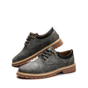 Low Top Lace Up Stitching Casual Shoes - Gris 44