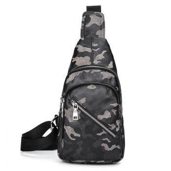 Faux Leather Camouflage Pattern Chest Bag - GRAY GRAY