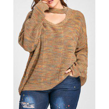 Plus Size Cut Out Neck Drop Shoulder Ripped Sweater - LIGHT COFFEE 4XL