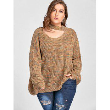 Plus Size Cut Out Neck Drop Shoulder Ripped Sweater - LIGHT COFFEE 5XL