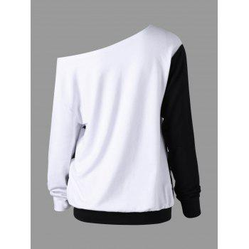 Sweatshirt à encolure oblique Halloween Plus Size - Blanc Noir 5XL