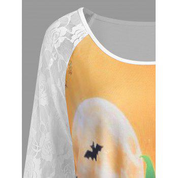 Plus Size Halloween Pumpkin Lace Panel Asymmetrical T-shirt - WHITE 2XL