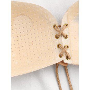 Butterfly Shaped Lace Up Self Adhesive Bra - KHAKI 80D