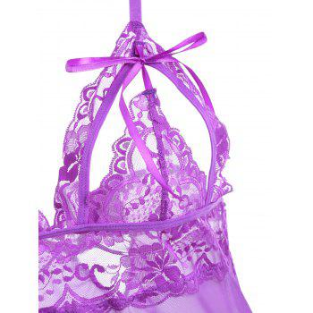 Cut Out See Through Slip Babydoll - PURPLE PURPLE