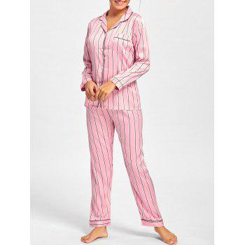 Stripe Satin Shirt Pajama Set - PINK M