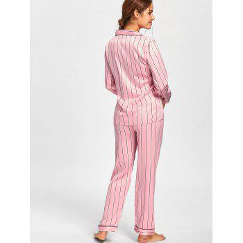 Stripe Satin Shirt Pajama Set - M M