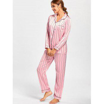 Stripe Satin Shirt Pajama Set - PINK PINK