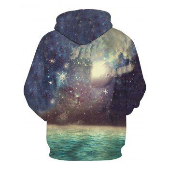 3D Galaxy Moon Print Pullover Hoodie - COLORMIX 3XL