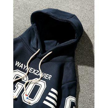 Fleece Graphic Stripe Print Pullover Hoodie - CADETBLUE 2XL