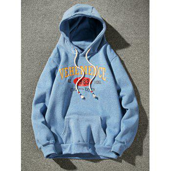 Fleece Graphic Print Pullover Hoodie - AZURE 2XL
