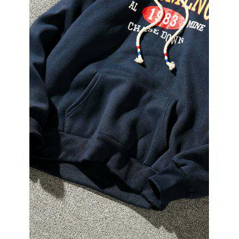 Fleece Graphic Print Pullover Hoodie - CADETBLUE L