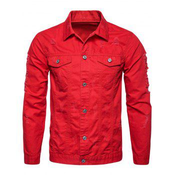 Distressed Button Up Cargo Jacket - RED 2XL