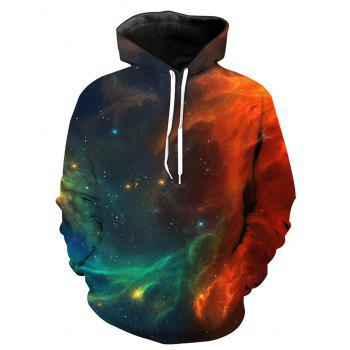3D Galaxy Ombre Print Pullover Hoodie - COLORMIX M
