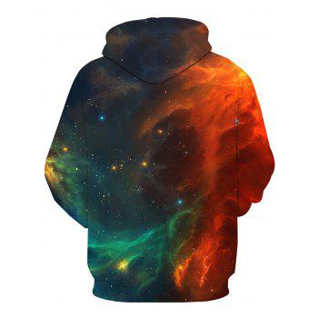 3D Galaxy Ombre Print Pullover Hoodie - COLORMIX L
