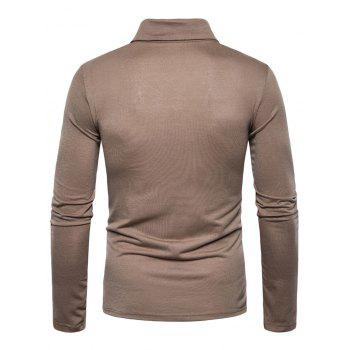 Polyester Panel Long Sleeve Polo T-shirt - COFFEE L