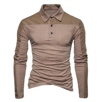 Polyester Panel Long Sleeve Polo T-shirt - COFFEE M