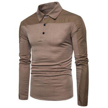 Polyester Panel Long Sleeve Polo T-shirt - COFFEE COFFEE