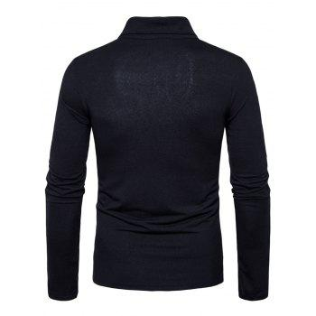 Polyester Panel Long Sleeve Polo T-shirt - BLACK 2XL