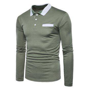 Long Sleeve Edging Polo T-shirt - ARMY GREEN S