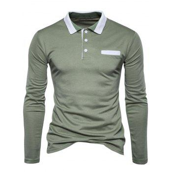 Long Sleeve Edging Polo T-shirt - S S