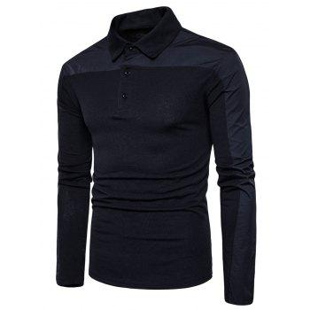 Polyester Panel Long Sleeve Polo T-shirt - BLACK M