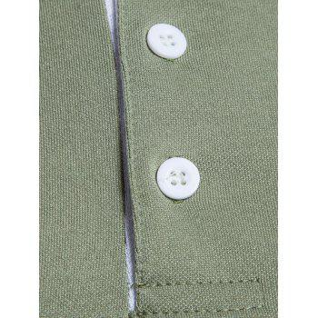 Long Sleeve Edging Polo T-shirt - ARMY GREEN XL
