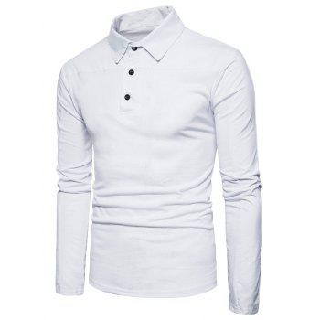 Polyester Panel Long Sleeve Polo T-shirt - WHITE 2XL