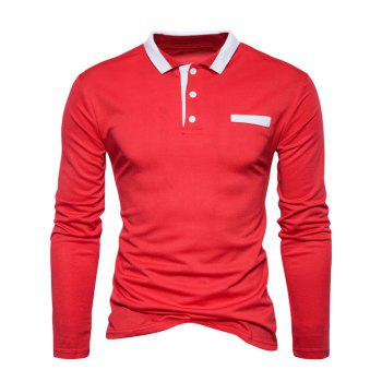 Long Sleeve Edging Polo T-shirt - RED 2XL