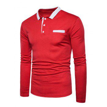 Long Sleeve Edging Polo T-shirt - RED XL