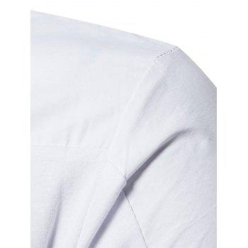 Polyester Panel Long Sleeve Polo T-shirt - WHITE WHITE