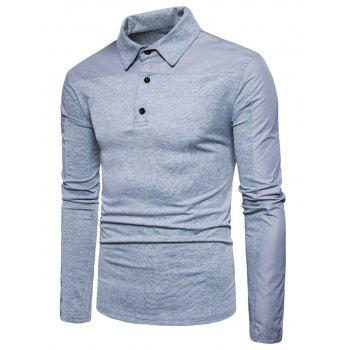 Polyester Panel Long Sleeve Polo T-shirt - LIGHT GRAY 2XL