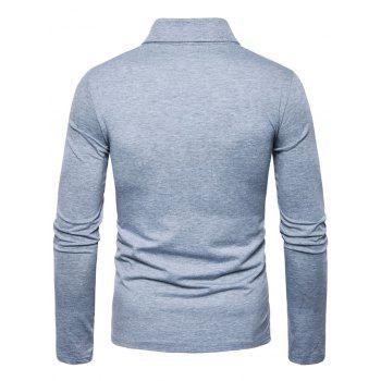 Polyester Panel Long Sleeve Polo T-shirt - LIGHT GRAY L