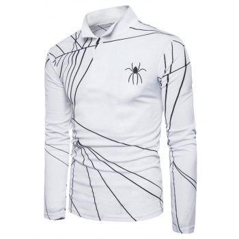 Long Sleeve Spider Web Print Polo T-shirt - WHITE S