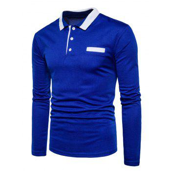 Long Sleeve Edging Polo T-shirt - ROYAL M