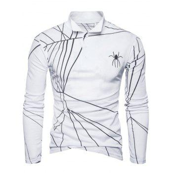 Long Sleeve Spider Web Print Polo T-shirt - WHITE M