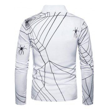 Long Sleeve Spider Web Print Polo T-shirt - WHITE WHITE
