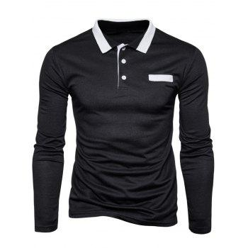 Long Sleeve Edging Polo T-shirt - BLACK 2XL
