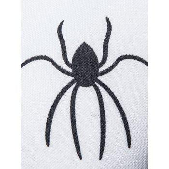 Long Sleeve Spider Web Print Polo T-shirt - WHITE L