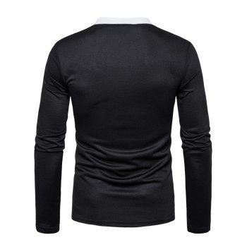 Long Sleeve Edging Polo T-shirt - BLACK M