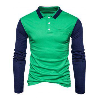 Long Sleeve Color Block Polo T-shirt - L L